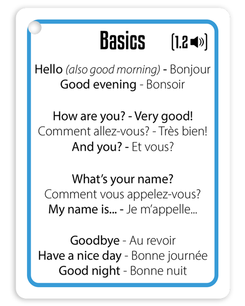 Hello And Good Bye In French Kruts Language Cards