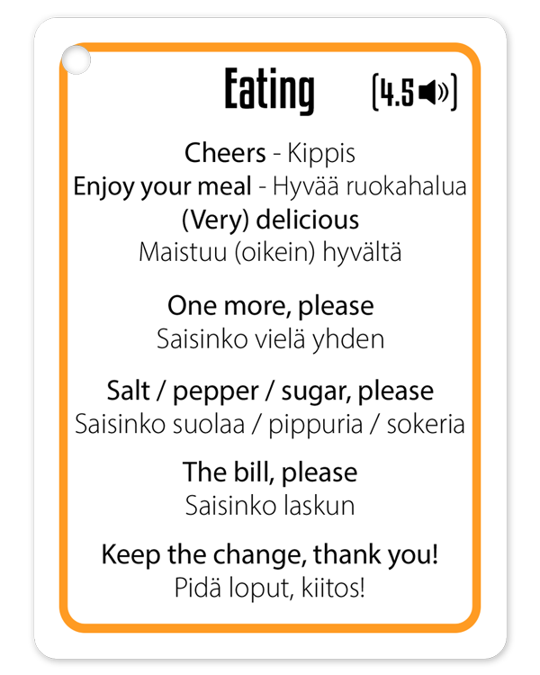 Finnish word and phrases eating out